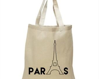 Soft Cotton Tote Bag - Paris with Eiffel tower