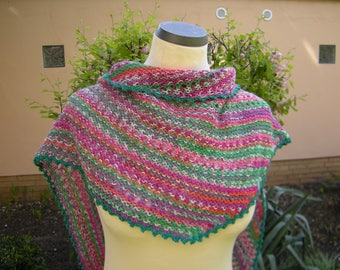 """Shawl, hand knit, stole, triangle shawl, triangle scarf """"restling"""" pink-green"""