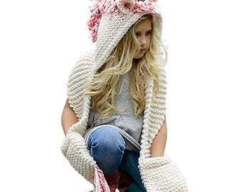 Knitted Unicorn Hooded Long Pocketed Scarf with Fringe and Horn