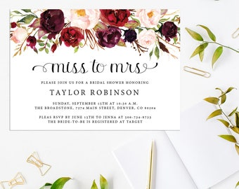 Watercolor Floral Rustic Bridal Shower Miss to Mrs Invitations | Bohemian Country Bridal  Invite | Printable or Printed | Marsala | F4BS