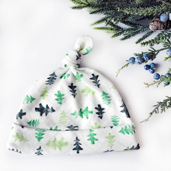 """O Christmas Tree"" Organic Cotton Top Knot Baby Hat (0-3M size)"