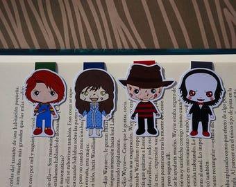 Magnetic bookmarks - Horror movies, Freddy Krueger, Chucky, Regan The Exorcist, Jigsaw