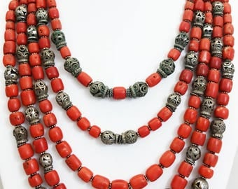 Antique 5 Strand Turkoman/Afghanistan Sterling Silver Beads & Antique Mediterranean Coral Bead Necklace - Rare Beaded Jewelry -