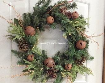 Rustic Christmas Wreath Farmhouse Winter Wreaths Rusty Jingle Bells