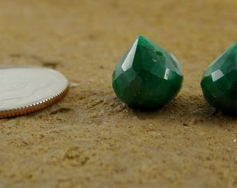 Dyed Emerald | Faceted Onion Briolette Beads | Matched Pairs, Trios