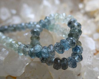 Moss Aquamarine | Faceted Rondelle Beads | 3.5x2mm | Sets of 20