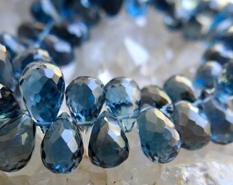 AAA Genuine Royal London Blue Topaz | 3D Faceted Pear Teardrop Briolettes | 7.9x5-9.5x5.2mm | Sold in Matched Pairs & Sets of 4 Briolettes