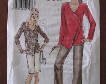 VOGUE PATTERN - 8403 Ladies Wrap-Front Tunic, Floor Length Pants, Straight Shorts, Size 16-18-20-22 Uncut
