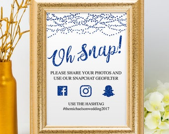 Printable Blue Glitter Look String Lights Social Media Wedding Event Hashtag Signs, 2 Sizes, Editable PDF, Instant Download