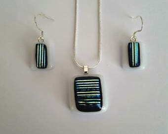 Fused Glass Pendant,Dichroic Glass Earrings,Opal White Gold Earrings,Dichroic Glass Jewellery,Necklace Earring Set, Sterling Silver Necklace