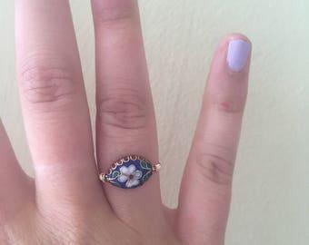 Vintage Floral Bead Ring