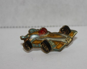 Vintage Race Car old Enamel Pinback button pin hat lapel