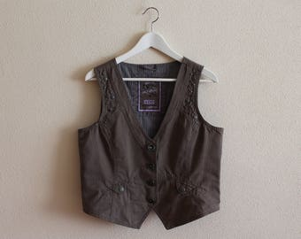 Brown Vest Brown Women's Vest Women Steampunk Vest Fitted Waistcoat Medium Size