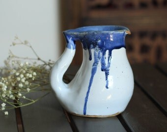 AT SEA // milk jug, bud vase, ceramic vase modern, ceramic pitcher, white pitcher, blue and white creamer, contemporary ceramics, vase