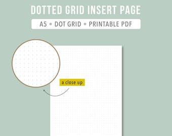 PRINTABLE A5 Dot Grid Inserts Bullet Journal Insert BuJo Printable Planner Insert Planner Refills Note Pages Leuchtturm1917 Inspired