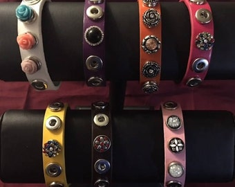 Colorful Five Snap Custom Made 12mm Snap Bracelets - Fits Men and Women