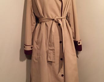 Large Aigner Trench Coat with Button Lining | Vintage Aigner | Khaki Trench Coat | Designer Trench Coat