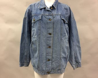 1980s Denim Slouchy Lightweight Button Front Jacket | Oversized Size Women's Large