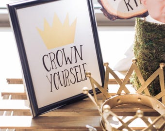 "Crown Yourself 8""x10"" Birthday Party Printable Crown Sign 