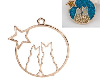 Pendant open resin - star cats - charm - charm - DIY