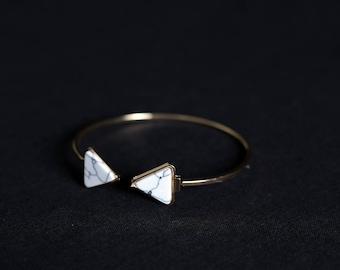 Triangular Marble Ended Bangle