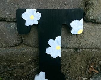 Greek Sorority Painted Daisy Flower Wooden Letter
