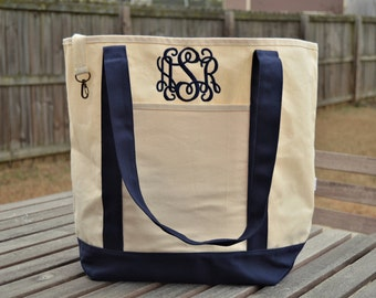 Organic Cotton Tote, Monogrammed Tote Bag, Monogram bag, Monogrammed canvas bag, Boat bag, Monogram canvas tote, Boat Tote
