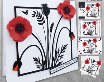 Poppy Card. Birthday. 3D Personalised. Mum Birthday Card, Sister, Wife, Daughter, Nan, Friend. Personalised Poppies. 3D Luxury  Rigid Box