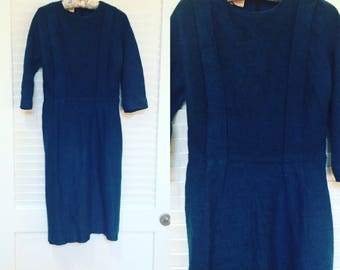 Vintage 1960s Blue Pleated Winter Dress, Mad Men Style