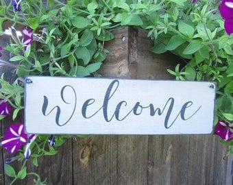 Welcome sign, wood sign, farmhouse sign, greeting sign, porch decor, wreath sign