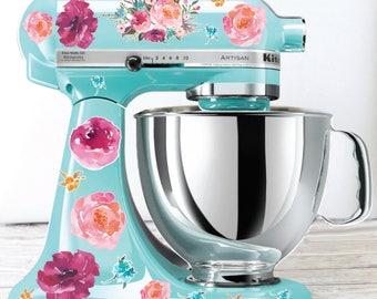 Watercolor peony Kitchen Mixer Decals, Watercolor flowers, flower mixer decals