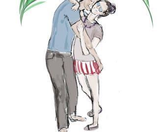 Custom Couple Digital Illustration for Wedding Invite, Save the Date Website Idea, Personalized Jewish Wedding Illustration