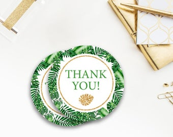 Tropical, Baby Shower thank you, favor Stickers, Safari, greenery, Baby Shower, Gold Safari, Green, Gold and Green, Jungle, tags, 043