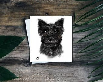 Cairn terrier card // cairn terrier greetings card // cairn terrier birthday card // terrier card // terrier drawing // terrier portrait