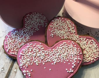 Valentine's Day Heart- Grain Free - Dog Treats - All Natural - No Preservatives - Delicious - Healthy - Homemade - Peanut Butter