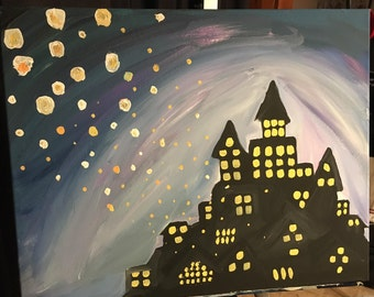 Floating Lanterns Tangled Acrylic Stretched Canvas Painting