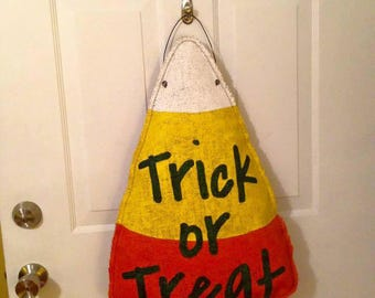 Candy Corn burlap door hanger