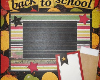 Back to School 12x12 Premade Scrapbook Page Sc101
