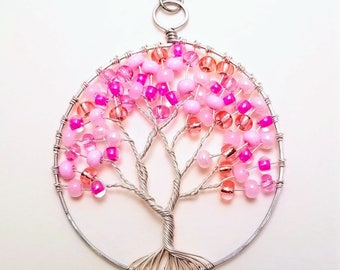 Handmade wire wrapped tree of life cherry blossom pendent