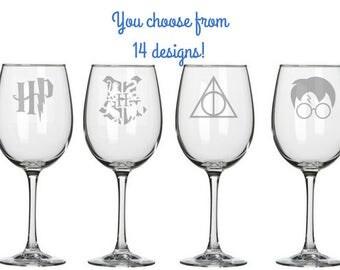 Harry Potter Gift - Harry Potter Wine Glasses - Harry Potter Wedding Gift - Harry Potter Bridal Shower - Harry Potter Mug - Potterhead Gift