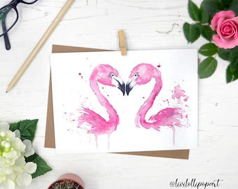 Flamingo card, flamingo wedding card, flamingo birthday card, flamingo greetings card, anniversary card, engagement card, lgbt love is love