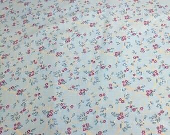 Purple Flowers on Blue Cotton Fabric