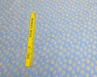 Daisies on Blue Cotton Fabric