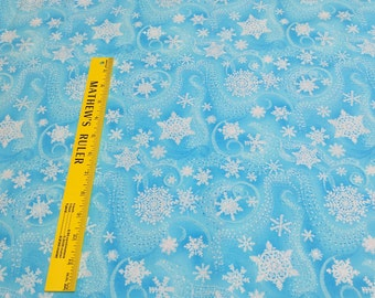 Snowflakes with Silver on Turquoise Cotton Fabric from Timeless Treasures