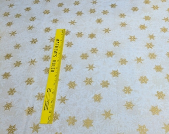 Magic of Winter-Gold and White Snowflakes on White Cotton Fabric from In the Beginning Fabrics