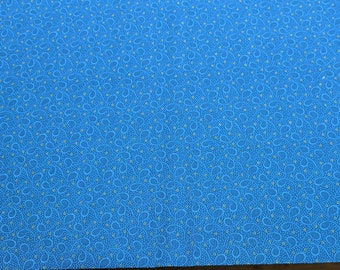 Pointe Pleasant-Blue Teardrops on Blue Cotton Fabric from Nancy Rink for Marcus Fabrics