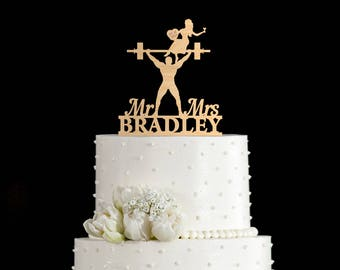 Weight lifting wedding cake topper,Weightlifter cake topper,gym cake topper,weight lifting cake toppers,bodybuilder wedding cake topper,7057