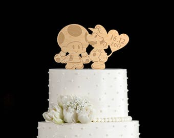 Mario and toadette cake topper,super mario and toadette wedding,super mario cake topper,super mario wedding cake topper,super mario,72818