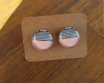 Geometric pattern earrings, striped earrings