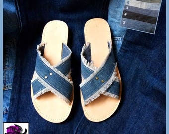 Mules woman Denim and leather cowhide.